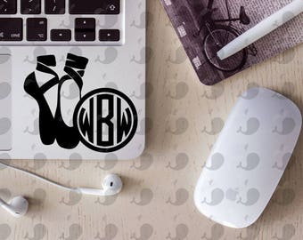 Ballet Slipper Monogram Decal, Ballet Monogram Decal, Ballet Laptop Decal