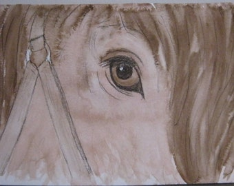 Horse Eye - Closeup - India Ink Watercolor Painting - Original