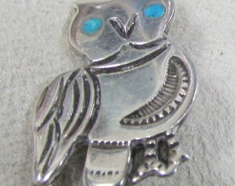 Sterling Silver Owl Pin with Turquoise Eyes