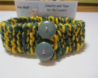 Knit Cat Collar, Yellow and Green Cat Collar, Soft Cat Collar, Flexible Cat Collar, Cat Supplies, Pet Collars, Cat Accessories, Cat Clothes