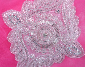 "JB220 Silver Beaded Rhinestone Applique 6"" (JB220-sl)"