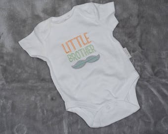 """embroidered """"little brother"""" baby suit/grow"""