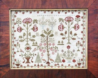 HEARTSTRING SAMPLERY Victoria's Garden counted cross stitch patterns at thecottageneedle.com reproduction sampler
