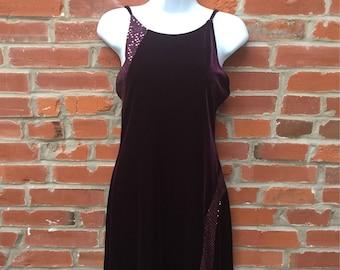Vintage 90s Purple Velvet Sequin High Neck Dress Womens