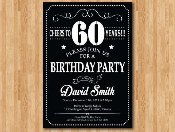 60th birthday invitation chalkboard black white and red 30th filmwisefo