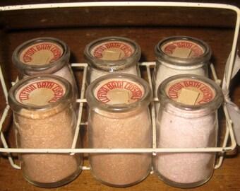 Antique, Vintage Clifton Bath Salts In Creamer Jars and Bottle Carrier