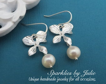 Silver Orchid Pearl Earrings - Silver Plated Orchid, Freshwater Potato Round Pearl Dangles, Botanical, Elegant Everyday, Bridal Jewely