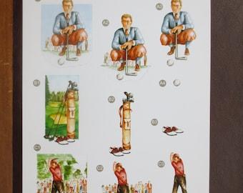 Golfer 3-D die cut decoupage sheet