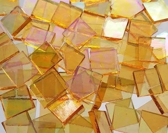 Iridescent Honey Yellow Stained Glass Mosaic Tiles