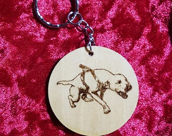 Crenshaw's Jeep handmade wooden pyrographic keychain , apbt , pitbull, bulldog , dog