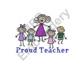 Teacher And Children - Machine Embroidery Design, Proud Teacher