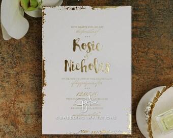 Rustic Romance Wedding Invitation, Foil Stamping - IWF16082-GW-GG