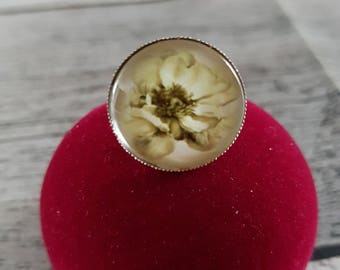 Ring Platinum dome beige Camellia ring Camellia flower, Camellia, fantasy colsplay, birthday gift, jewelry, women, Adjustable ring