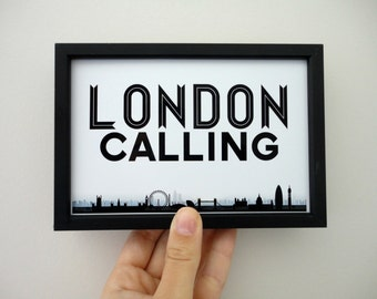London Calling Art Print, London Art, London Poster, Black and White Typography Print, Travel Print, England, UK, Geography Poster, Skyline