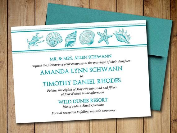 Beach Wedding Invitation Template Seashell Wedding