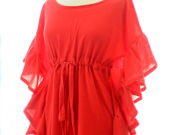 Mini Caftan with Ruffles - Beach Cover Up Dress - Kaftan in Red Cotton Gauze - 20 Colors