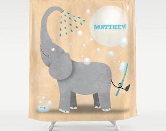 Elephant Shower Curtain, Children's Bathroom, Personalized Elephant Shower Curtain, Safari Jungle Bathroom