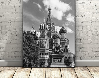 Saint Basil's Cathedral Print, Moscow Print,  Russia Art Print, Travel Print, Instant Download, Wall Art,Architectural Print,Black and White