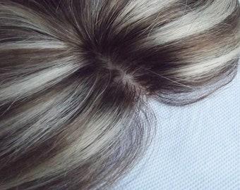Silk base human hair topper- Hair loss- free part- ash brown/ bleach blonde- 18 inches long- 5x5 inch base