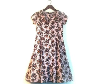 1990s Vintage Floral Dress // Vintage Button Front Floral Dress // Ruffled Floral Dress