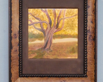 """Small Oil Painting on copper """"Ancient Tree in the Arboretum"""" metallic Framed in Leather in Craftsman Wood Frame texture rich OOAK"""