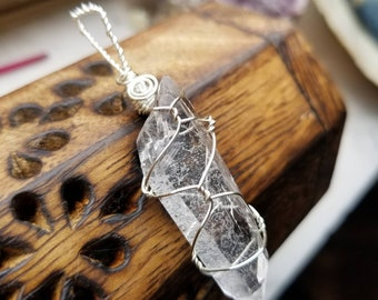 Clear Quartz Point Pendant Necklace for Healing Energy, Enhanced Concentration, and Any Intent You Program!!!