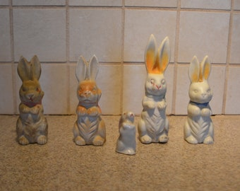Four Vintage Bisque Rabbits (Japan) and One Ceramic Rabbit (Occupied Japan)
