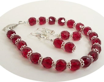 Garnet Red Bracelet and Earrings Set- Jewelry Set- January Birthstone-Bridesmaid-Holidays