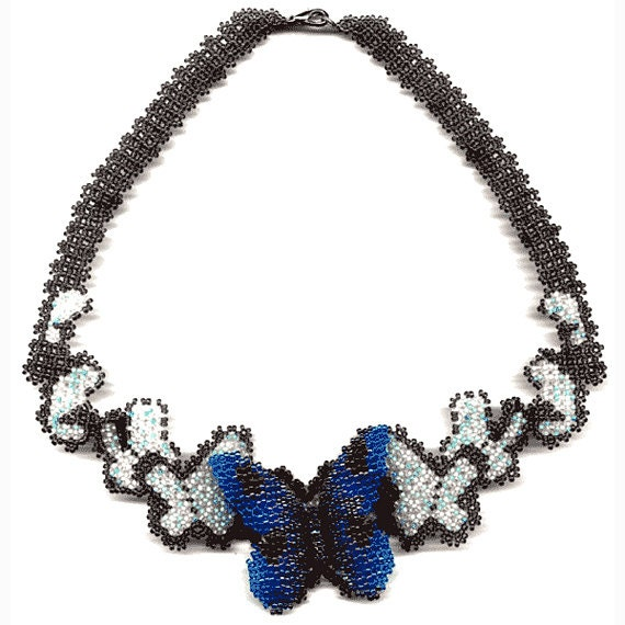 Beading Pattern Seed Beaded Butterfly Necklace Instructions