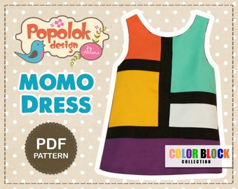 MOMO Dress PDF Pattern & Tutorial - Color Block Girl Dress - 8 sizes from Age 1 to 8