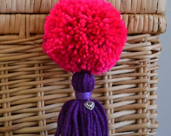 Pink and Purple Pom Pom & Tassel Clip-on with Heart Charm -  Keychain, Beach Bag or Backpack Flair Clip