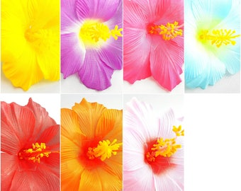 10pcs Mix Assorted Colors Hibiscus Silk Flower Head - Size 4.5 Inches - For DIY Hair Accessories, Wedding, Home Decor