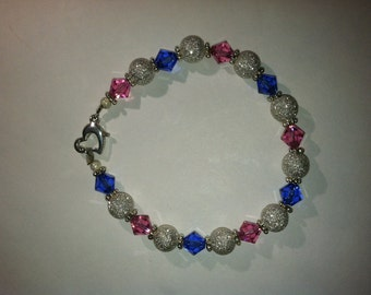 Pink and Blue swarovski and sterling silver bracelet