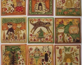 CATS Squares Fabric Appliques Makower UK FANCY Cats Gold Green 9 Pc  Iron On