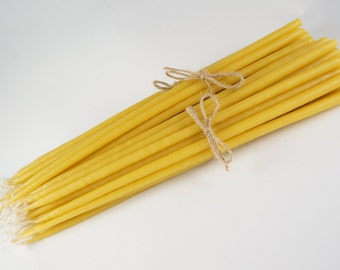 """Discount Packs - 100% Pure Natural Beeswax Candles Dipped Taper Church Handmade in Greece Byzantine Orthodox (12"""" by 1/4 inch)"""