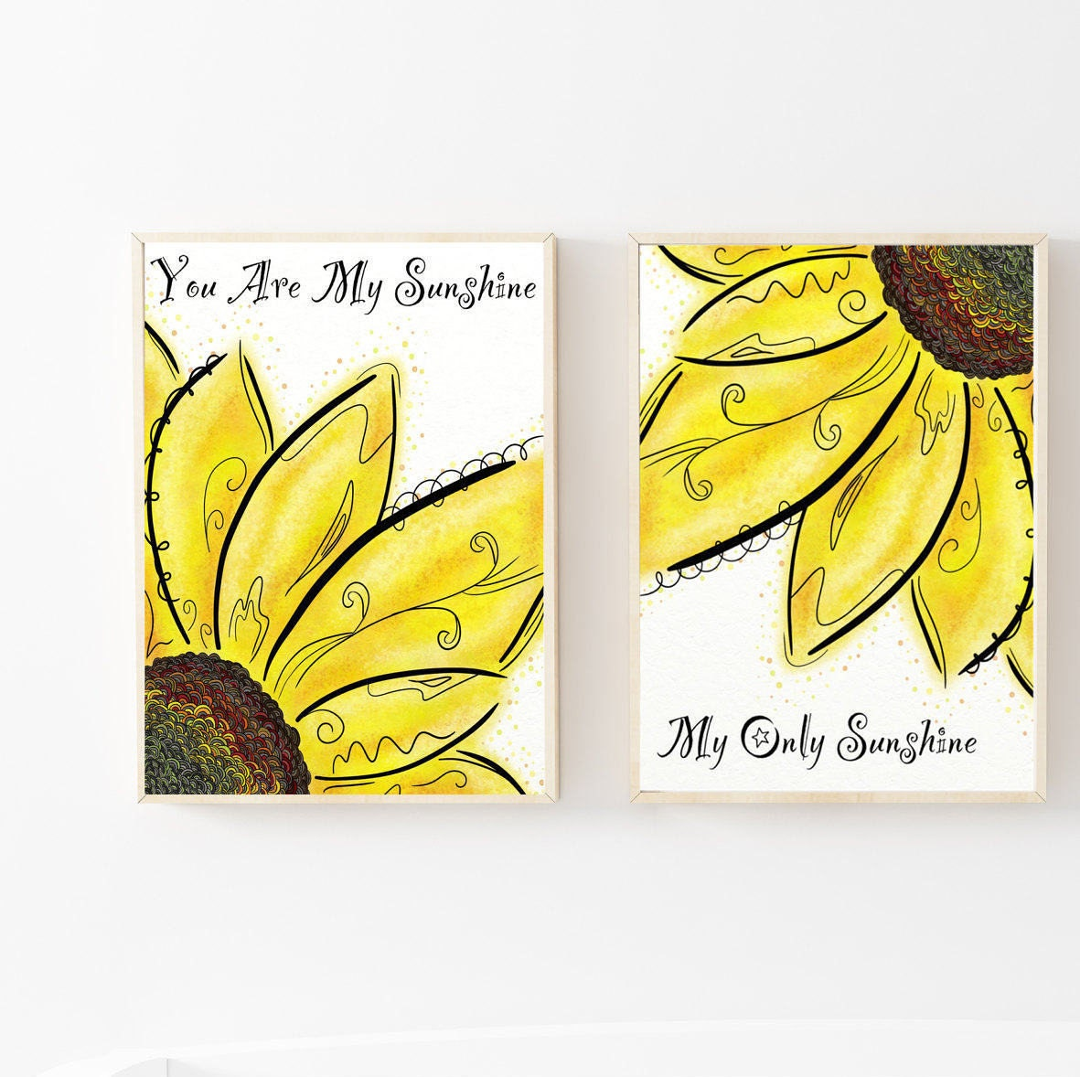 Sunshine Nursery Art Sunflower Wall Decor Kids Prints Sets