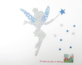 Applied fusing liberty fairy Katie years blue flex Millie glittery fairy liberty fusible iron-on patch applique