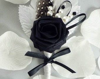 Lux Chic Origami Rose Boutonniere, Wedding Boutonniere, Black and White Boutonniere, Grooms Boutonniere, Modern Wedding