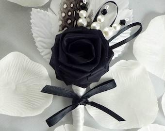 Lux Chic Origami Rose Boutonniere, Wedding Boutonniere, Black and White Boutonniere, Grooms Boutonniere, Modern Wedding
