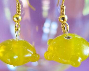 CLEARANCE - Lampwork Glass Knobby Beaded Earrings in Lemon Yellow