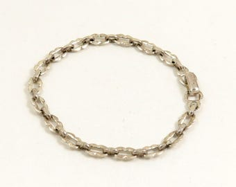 Vintage Sterling Silver Chain Fancy Link Bracelet, Signed WBs, Ward Brothers