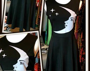 Vintage Black White Moon Stars Print Jersey Dress FREE SHIPPING