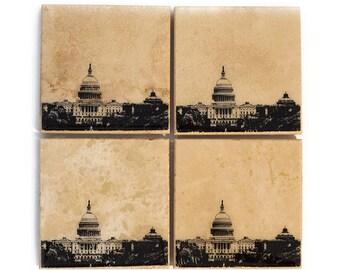 Washington DC Skyline Coaster Set (4 Stone Coasters, Black & White) Cityscape Home Decor, DC Gift