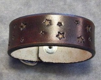 Tooled  Leather Bracelet stamped with Stars