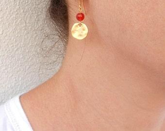 Orange carnelian earrings, Gold coin earrings