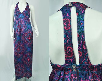 70s Psychedelic Halter Dress