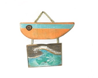 Boat and Waves Beach Art-Personalize and Adopt This Original Art Item-Reclaimed Wood Beach Decor Surf OOAK Painting Home Decor Mangoseed