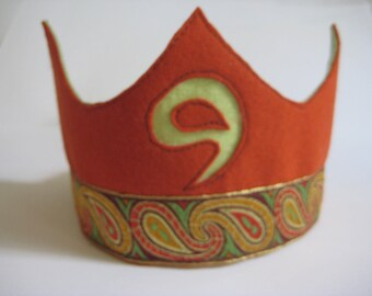 Felt Birthday Crown in Red Brown and Pistache Green tones, Waldorf-style Crown