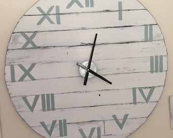 Rustic Wood Wall Clock Large Oversized 96cm / 38 inch Diameter White with Duck Egg Roman Numerals