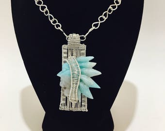 Aquamarine Indian pendant Native American necklace
